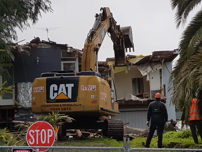 The modernist house at 27 Mariemont Avenue in Beaumaris was demolished despite locals' efforts to save the building. Photo: Jamie Paterson